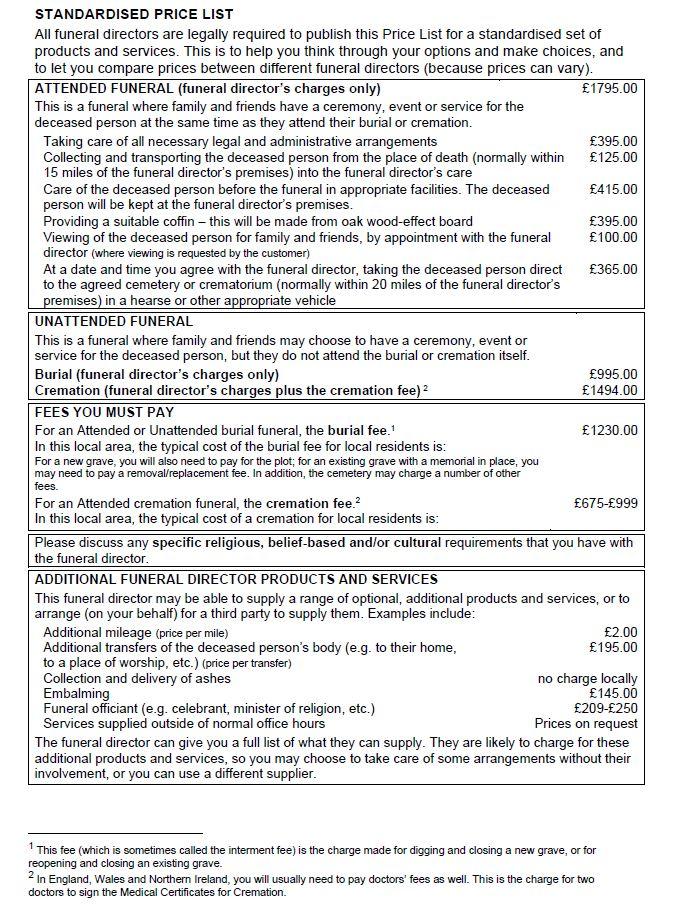 Standardised Price List1